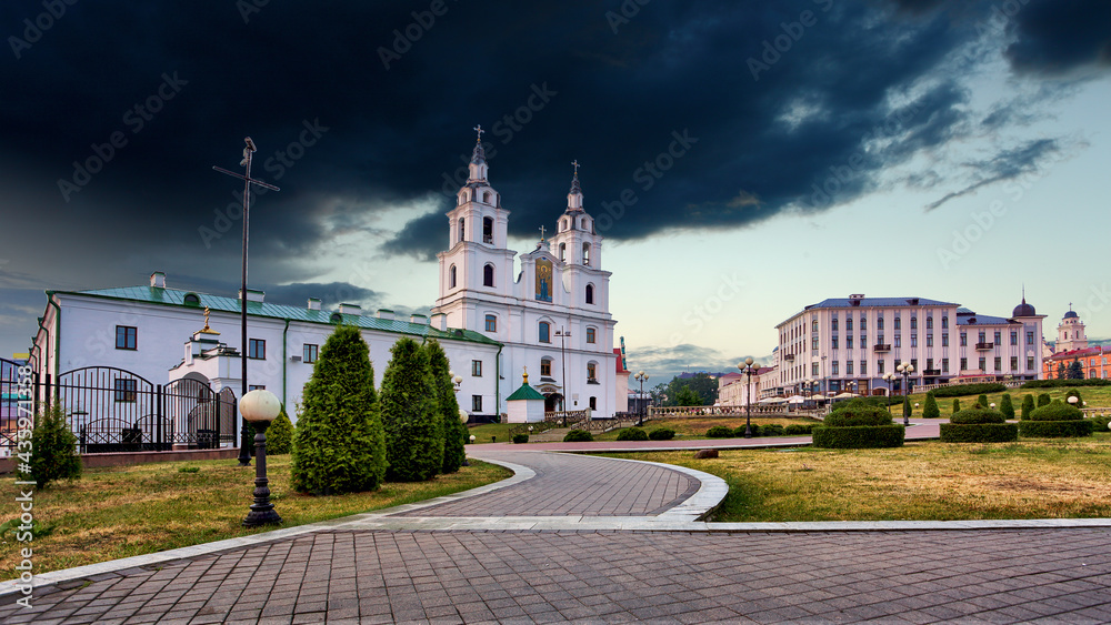 Minsk, Belarus. The Cathedral Of Holy Spirit In Minsk - The Main Orthodox Church Of Belarus And Symbol Of Capital