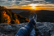 canvas print picture - Hiker on the top of mountain