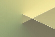Abstract Background Of The Play Button, Triangle. A Pattern Of Lines With Rainbow Rays Of Light. Pastel Light Green Pine Glade, Yellow Color.