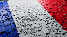 French Colors Rendered As Futuristic 3D Blocks. France Network Concept. Tech Background.