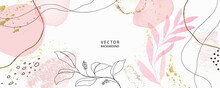 Minimal Background In Pink Flowers And Tropical Summer Leaf With Golden Metallic Texture Gallery Wall Art Vector