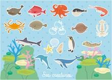 海の生き物のイラストセット(背景付)
