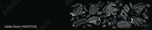 Fotografia Vintage Butcher shop hand-drawn on a black chalkboard background