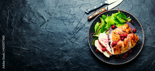 Fotografiet Grilled chicken fillet with cherry syrup,space for text