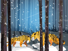 Cartoon Two Lions Playing Together On Forest Snow Falling Background.