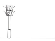 Single One Line Drawing Of Special Traffic Lights For Pedestrians Crossing The Highway Through The Zebra Crossing. Only Two Colors. Red And Green. One Line Draw Design Graphic Vector Illustration.