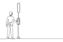 Single Continuous Line Drawing A Man Pushes A Button At A Traffic Light To Cross The Road On A Zebra Crossing. Road Is Busy During Office Hours Dynamic One Line Draw Graphic Design Vector Illustration