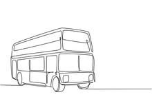 Continuous One Line Drawing Double Decker Buses Take Tourists Around The City To Enjoy Old City Tour Package. A Promising Transportation Business. Single Line Draw Design Vector Graphic Illustration.