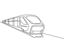 Single One Line Drawing Of Train Seen From The Front Prepares To Carry Passengers Quickly, Safely And Comfortably To Their Destination. Modern Continuous Line Draw Design Graphic Vector Illustration.