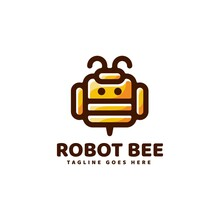 Vector Logo Illustration Robot Bee Line Art Colorful Style.