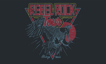 Eagle Rebel Rock Tour Graphic Print Design. Make Some Noise Rock And Roll Artwork Design.