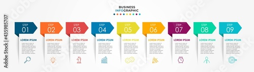 Fotografiet Vector Infographic design business template with icons and 9 options or steps