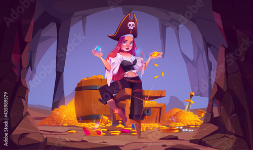 Obraz na płótnie Pirate girl in treasure cave, young woman in filibuster costume and leg prosthes
