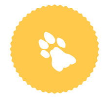 Image Of A White Lion Footprint On An Orange Background In The Form Of A Circle With A Wavy Frame