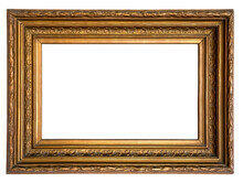 Antique Rectangle Decorative Gold Plated Wooden Picture Frame Isolated On White Background
