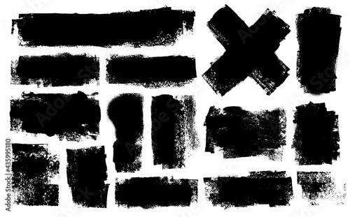 Obraz na plátně Set of thick strokes. Roller stains. Textured background.