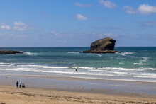 PORTREATH, CORNWALL, UK - MAY 13 : View Of People On The Beach At Portreath Cornwall On May 13, 2021. Unidentified People