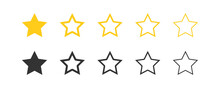Star Vector Icons Set Black And Yellow.  Isolated Button