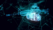World War 2 Cannon Hologram Close Up . High Quality 4k Footage