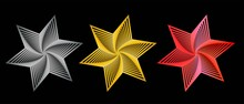 Set Star Symbol. Abstract Icon Of A Star With A Spiral. Three Colors: Silver, Gold, Red. Star Trek .An Optical Illusion. 3d Rendering, Stripes, Lines. Vector Illustration.