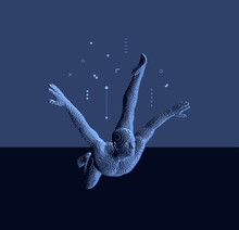 Man Falling Down. Men Floating And Hovering In The Air. Voxel Art. 3D Vector Illustration.