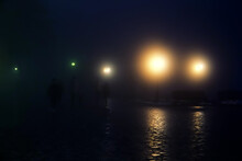 Winter Foggy Night City (thick Weather). Late Passers-by, Strollers, Cars, Fog Lights