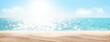 Leinwandbild Motiv Sea beach with hot sand and sunny bokeh