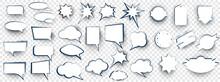 Set Of Speech Bubbles. Blank Retro Empty Comic Bubbles. Comic Book Graphic Art Speech Clouds, Thinking Bubbles And Conversation Text Elements Illustration Set.   Blank Cartoon Discussion Illustration