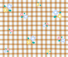 Beige Gingham Patterns With Flower Background Editable Stroke
