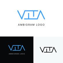 Vita Initial Letter Ambigram Logo. The Logo Design Is Luxurious, Simple, Stylish And Elegant