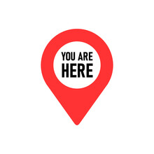 You Are Here. Red Map Pointer Icon. GPS Location Symbol. Flat Design Style.