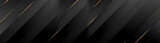 Black luxury background with golden diagonal stripes. Dark elegant dynamic abstract BG. Trendy geometric grey gradient. Universal minimal 3d sale modern backdrop. Amazing shine deluxe lines  template