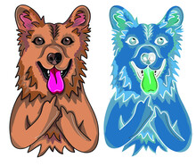 Vector Simple Illustration: Dog Set, Colored And Inverted Dog