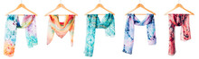 Silk Colourful Hand Painted Tied Scarves Hung On Hangers Over White Background. Woman Fashion, Tying A Scarf, Wearing A Scarves. Stylish Ways To Tie And Wear Scarves