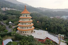 Experiencing The Taiwanese Culture Of The Spectacular Five-stories Pagoda Tiered Tower Tiantan At Wuji Tianyuan Temple At Tamsui District.