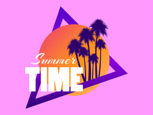 80s Retro Sci-fi Palm Trees On A Sunset. Retro Futuristic Sun With Palm Trees. Synthwave And Retrowave Style. Design For Advertising Brochures, Banners, Posters, Travel Agencies. Vector Illustration