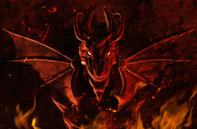 3d Render Illustration Of Dragon Wall Sculpture In Fire And Ashes.