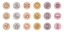 Instagram Highlights Cover Icons. Set Of Website Contact Info Icons. Highlights Stories Covers Line Pictogram For Business Card. Editable Stroke. Vector Illustration