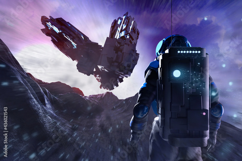 Fotografiet 3d render illustration of astronaut in space suit on alien futuristic rocky planet surface with spaceship aircraft landing
