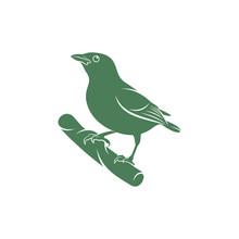 Saira Amarela Bird Vector Illustration. Saira Amarela Bird Logo Design Concept Template. Creative Symbol