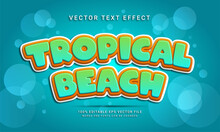 Tropical Beach 3d Text Style Effect Themed Happy Summer Holiday