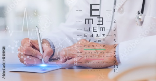 Composition of doctor at desk writing and medical data and optical test screen interface