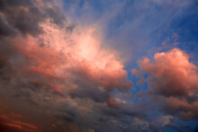 Abstract Nature Background. Dramatic And Moody Pink, Purple And Blue Cloudy Sunset Sky. Red Cloudscape Area. Bright Mood Wallpaper. Heaven. Colorful Backdrop. After Storm. Springtime. Cumulus Clouds
