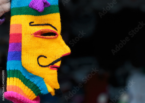 Fotografia, Obraz Peruvian crafts: Colorful allegorical mask used for festivals that celebrate religious events such as Virgen de la Candelaria, a traditional Bolivian festival that is also celebrated in Peru