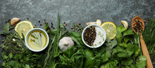 Fresh Herbs On Black Smokey Background, Top View