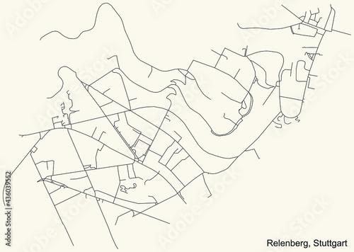 Black simple detailed street roads map on vintage beige background of the quarter Relenberg of district Nord of Stuttgart, Germany