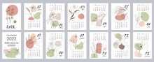Calendar Template For 2022. Vertical Design With Abstract Floral Patterns. Editable Vector Illustration, Set Of 12 Months With Cover. Week Starts On Sunday