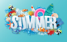 Summer Time Holiday Vector Design With Beach,colorful Tropical Flowers Heliconia Rostrata,fruit,sea,nature,summer Drink,under The Sea,coral,flamingo,sun,sand,cocktail, Paper Cut Style On Background.