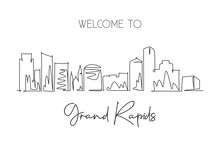One Single Line Drawing Visit Grand Rapids City Skyline, Michigan. World Beauty Town Landscape. Best Holiday Destination. Editable Stroke Trendy Continuous Graphic Line Draw Design Vector Illustration