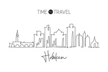 One Single Line Drawing Visit Hoboken City Skyline, New Jersey. World Beauty Town Landscape. Best Holiday Destination. Editable Stroke Trendy Continuous Line Graphic Draw Design Vector Illustration